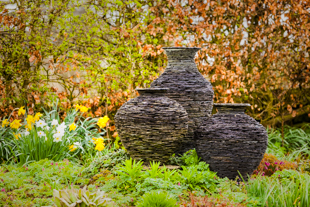 a lovely set of 3 slate garden sculptures in autumn