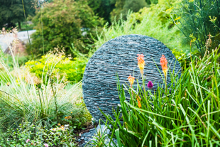 stunning ball slate sculpture in threave gardens